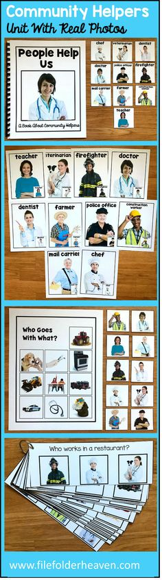"This Community Helpers Unit w/Real Photos is packed full of hands-on activities for your community helpers theme.  Activities Included With This Community Helpers Unit:  1. Adapted Book (Interactive Book) w/ interactive matching pieces 2. 1 Set of Interactive Bulletin Board Community Helpers Posters (10 total) 3.  Who Goes With What Community Helpers Matching Mat 4   3 Sets of ""Big Flips"" Matching Activities  5.  1 Set of Community Helpers WH-Questions"
