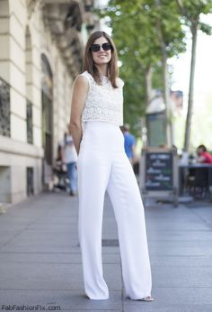 White crop top and wide leg pants for elegant summer look