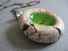 Crackled Ceramic with Green Glass  pendant / by leandogpottery