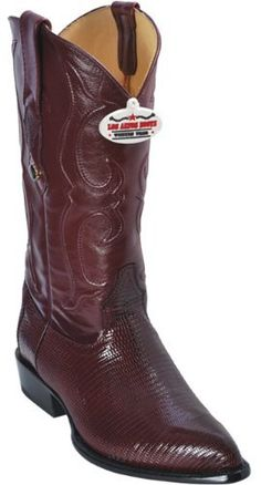 21505 Pointy J-Toe Los Altos Burgundy Genuine Leather Men's Cowboy Boots 9