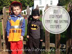 DIY LEGO movie Batman and Emmett costumes