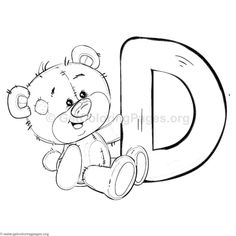 Teddy Bear Alphabet Letter D Coloring Pages Alphabet Coloring Pages, Colouring Pages, Coloring Sheets, Adult Coloring, Coloring Books, Mandala Coloring, Alphabet Design, Animal Alphabet, Baby Painting