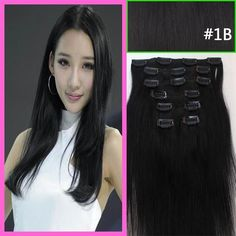 151820222426Remy Clip in human hair extensions 70g 100g 120g #1b