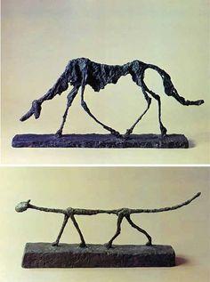 あちらの美術館で二つ、こちらの美術館で一つというようにジャコメッティの彫刻作品を観ることがあって、その都度、心がザワザワするような印象があった。あの感覚はなにに由来するのだろうと、喉に刺さった小骨のように気になってしょうがなかったのだが、ずいぶん長い時間が過ぎてしまった。  そして突然、なぜか「そうだ。ジャコメッティだ」と思い立ったのである。理由はない、ただの気まぐれである。  仙台市立図書館に「ジャコメッティ展」という図録 [1] があったのでさっそく借り出してきた。しかし、図録を眺めたとしても、あのザワザワとした感覚の由来を明らかにできそうにない。「存在の孤独」だとか「苛立つ実存」などという言葉が浮かぶが、それから先にどんな言葉もない。何かが見えてきそうな感じがまったくしないのだ。  図録を見たぐらいでど... Sculpture Art, Sculptures, Modern Art, Contemporary Art, Cool Wood Projects, Alberto Giacometti, Dog Art, Art World, Sculpting