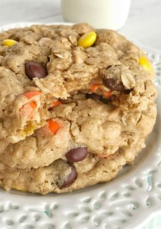 Triple Peanut Butter Monster Cookies - Together as Family Reese's Pieces Cookies, Candy Cookies, Cookie Desserts, Cookie Recipes, Dessert Recipes, Dessert Ideas, Sugar Free Peanut Butter Cookies, Peanut Butter Oatmeal, Peanut Butter Chips