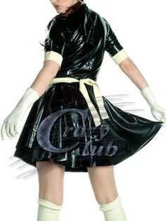 ラテックスホット販売高速配信で100%ピュアネイチャーラバーファンシー女性の制服服フェチブラックラテックスドレス制服ラテックス修道女