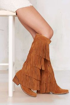 JEFFREY CAMPBELL IS ONE OF MY ALL TIME FAVORITE!! Jeffrey Campbell Esconder Fringe Suede Boot | Shop Shoes at Nasty Gal! #fringeheaven