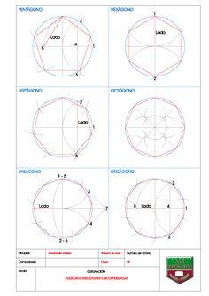 POLÍGONOS INSCRITOS EN CIRCUNFERENCIAS Cuando un polígono tiene todos sus vértices en la circunferencia, el polígono recibe el nombre de polígono inscrito en una circunferencia. 1. PENTÁGONO INSCRI… Sacred Geometry Patterns, Geometry Art, Geometric Drawing, Geometric Shapes, Isometric Drawing Exercises, Lotus Flower Art, Interesting Drawings, Textile Pattern Design, Math Formulas