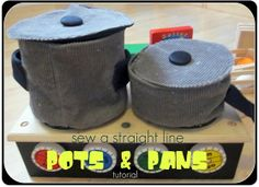 Tutorial: Fabric pots and pans for a play kitchen Sewing For Kids, Diy For Kids, Crafts For Kids, Free Sewing, Felt Diy, Felt Crafts, Diy Crafts, Cuisines Diy, Pots And Pans Sets