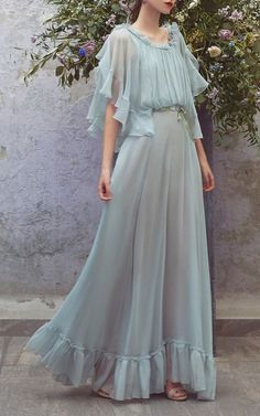 Chiffon Ruffle Full Length Dress by Luisa Beccaria