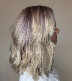 See this Instagram photo by @haleydoeshairs • #highlights #blonde #icy #violet #lilac #lavender #vivids #curls #lob #balayage