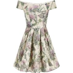 Chi Chi London Floral bardot midi dress (€100) ❤ liked on Polyvore featuring dresses, gold, botanical dress, white midi dress, white flower print dress, flower print dress and mid calf dresses