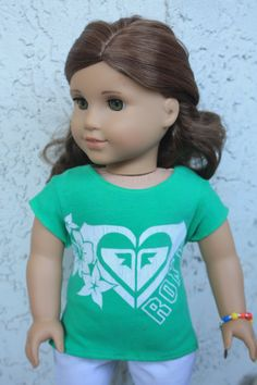 Green Roxy Tee Shirt for American Girl Dolls. $10.00, via Etsy.