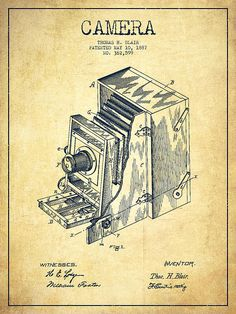 Vintage Patent Drawings | Vintage Camera Patent Drawing From 1887 Print by Aged Pixel
