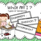 Learning to identify the different kinds of sentences, (statements, questions, exclamations) can be hard for first and second graders. This freebie. Literacy Games, Vocabulary Activities, Kindergarten Writing, Teaching Writing, Student Teaching, Teaching Ideas, Kinds Of Sentences, Grammar Sentences, Grammar And Punctuation