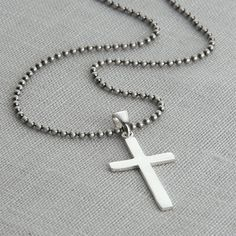 Not on the High Street Sterling silver cross on a matt silver ball chain Hurleyburley jewellery is beautifully gift wrapped in our signature black and silver boxes finished with … Sterling Silver Cross Pendant, Sterling Silver Chains, Mens Silver Jewelry, Silver Ring, Cross Chain, Luxury Jewelry, Ball Chain, Jewellery, Boxes