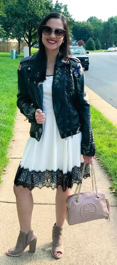 How to transition your Summer Wardrobe to Fall - woman wearing Express dress, BlankNYC embroidered leather jacket, Vince Camuto ankle boots, Gucci bag | fall outfits women | fall style | fall outfits 2017 | dress outfit | dress outfit fall | leather jacke