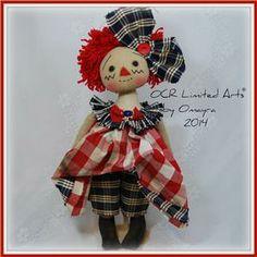 Primitive Folk Art Raggedy Ann Doll w Ornament Vintage Fabric Buttons OOAK OCR | eBay