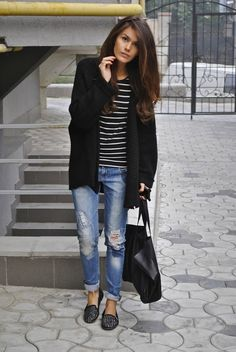 studded loafers + bf jeans + striped shirt + long cardi