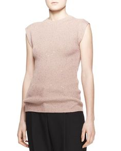 Sequined Ribbed Cashmere-Silk Cap-Sleeve Sweater by Brunello Cucinelli at Neiman Marcus. Original: $2,305.00 NOW: $806.00