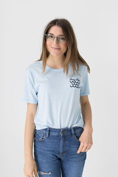 Living Water Embroidered Sky Blue T-Shirt