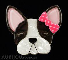 Erstwilder Brooch Pin Felicia French Bulldog Dog White Black Pink