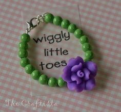 Baby Bracelet   Purple Rose Polymer Clay and Beads by TheCraftista, $6.50