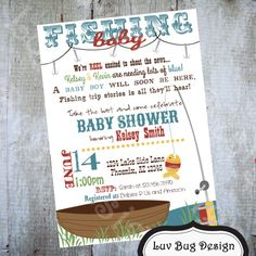 Fishing Baby Shower Invitation Printable Party By Luvbugdesign