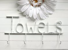 White Pool Sign / Towel Holder / Pool Decor / by WillowsGrace, $27.00