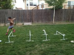 diy hurdles ...kids would love these in the back yard!:)