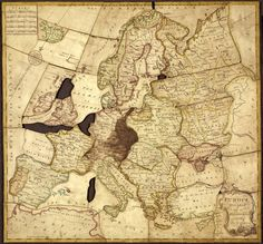 """""""Europe divided into its kingdoms, etc."""" by John Spilsbury, The first jigsaw puzzle in the world was a map, used for teaching geography Wood World Map, Library Games, Wooden Map, Teaching Geography, World Globes, Old Maps, Map Design, British Library, First World"""