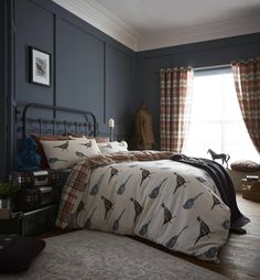 Pheasant Country & Tartan Bedding with matching tartan curtains also available... ideal for a Country Home.  Matching tartan curtains are also available (that match the reverse of the bedding).