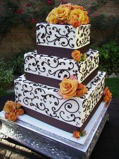 Black & White Wedding Cake with Orange Flowers