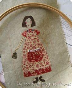 Tengo una muñeca vestida de rojo.... Red Home Aplique quilt de Natalie Bird. Patchwork Quilting applique