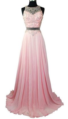 Elegant Pink Long chiffon Prom Dress