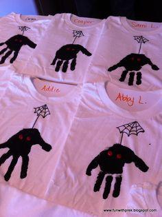 Lil' Miss SmartyPants: Halloween Party!!  Spider Handprint T-shirts #handprintart  #preschool