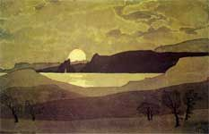 Voloshin's watercolor/ Crimea/ Восход Луны встречали чаек клики.