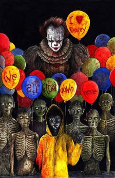 With Stephen King's IT due for release in September it is a pretty sure thing that Pennywise is going to be a popular Halloween costume. Arte Horror, Horror Art, Es Pennywise, Pennywise The Dancing Clown, Le Clown, Creepy Clown, Creepy Kids, Clown Mask, Scary Movies