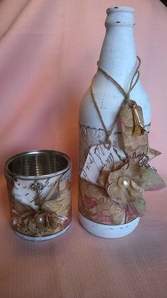 Kit garrafa vintage e porta-canetas - Studio Irene Giglio