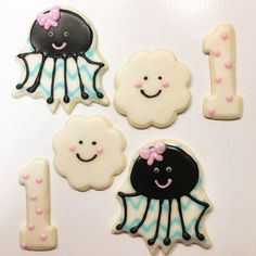 Itsy Bitsy Spider cookies. Itsy Bitsy Spider first birthday cookies. Itsy Bitsy Spider birthday. 1 cookies. First birthday cookies. Cloud cookies. Spider cookies