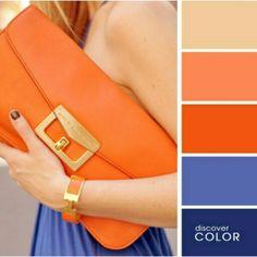 Gama de azules con naranja