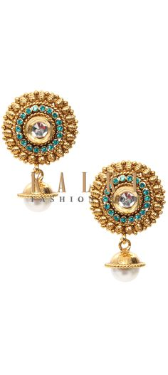 Buy Online from the link below. We ship worldwide (Free Shipping over US$100) Price-$19 Click Anywhere to Tag http://www.kalkifashion.com/tradional-ethnic-design-hand-made-earring-with-brass-pearl-and-kundan-21117.html