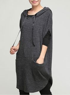 Womens Autumn Large Size Hooded T-shirt