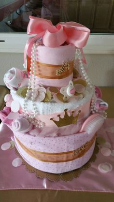 Diaper cake, princess theme baby shower in pink and gold