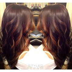 Caramel balayage highlights over a rich chocolate base. #styledbykate  | Instagram: @StyledByKate_