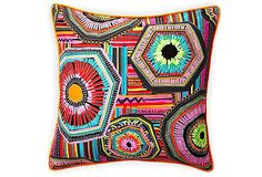 """Cotton graphic patterned pillow 20"""" x 20"""""""
