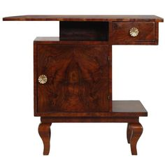 1930s Art Deco Gaetano Borsani Bedside Nightstand Table Console in Burl Walnut