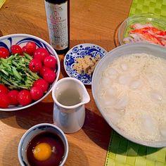 やっぱり、ExVオリーブオイルは外せませんね ♪ - 20件のもぐもぐ - トマト・生玉子素麺 by zukVi5