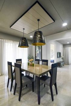 Vaibhav Residence – a+t associates House Ceiling Design, Ceiling Design Living Room, Bedroom False Ceiling Design, Home Room Design, Living Room Interior, Simple Dining Table, Dining Table Design, Dining Room Paint, Apartment Interior Design
