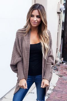 aa416c1c7e Mocha Ribbed Cuffs Dolman Sleeved Cardigan. Trending OutfitsTrendy Fall  OutfitsCasual ...